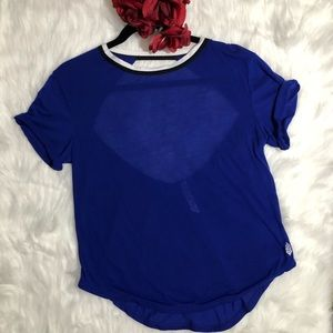 Free People Tops - FREE PEOPLE Blue Open Back T Shirt Short Sleeve